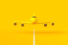 Yellow Plane Flying On The Run...