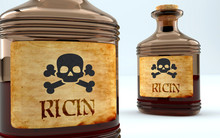 Dangers And Harms Of Ricin Pictured As A Poison Bottle With Word Ricin, Symbolizes Negative Aspects And Bad Effects Of Unhealthy Ricin, 3d Illustration