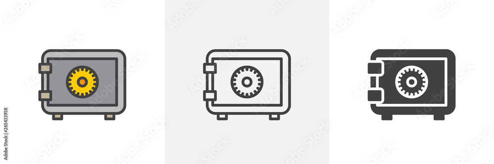 Fototapeta Safe, bank icon. Line, glyph and filled outline colorful version, Strong box lock outline and filled vector sign. Symbol, logo illustration. Different style icons set. Vector graphics