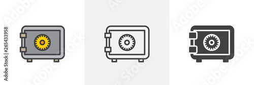 Fototapeta Safe, bank icon. Line, glyph and filled outline colorful version, Strong box lock outline and filled vector sign. Symbol, logo illustration. Different style icons set. Vector graphics obraz