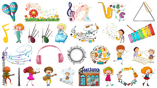 Fotobehang Kids large musc theme set