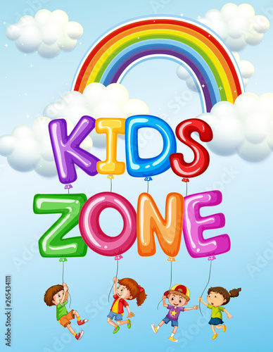 Fotobehang Kids Kids zone text logo