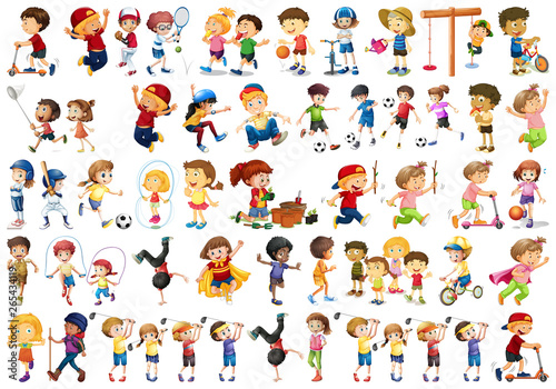 La pose en embrasure Jeunes enfants Set of children character