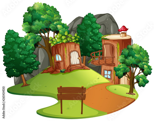 Poster Kids Isolated enchanted tree house