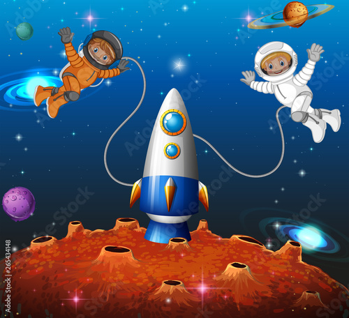 Poster Kids Astronaut in the space