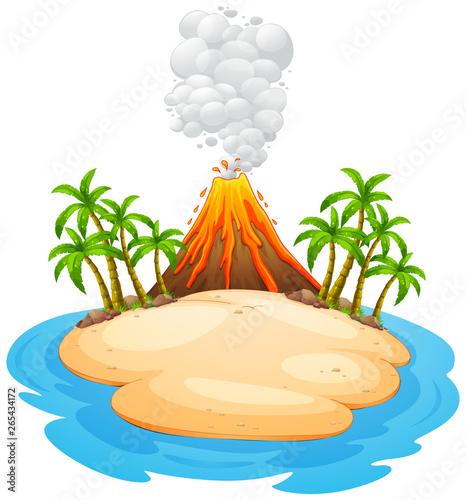 A volcano eruption island