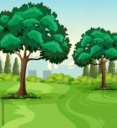 In de dag Kids Green nature park landscape