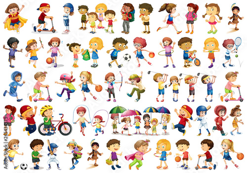 Photo sur Aluminium Jeunes enfants Set of children character