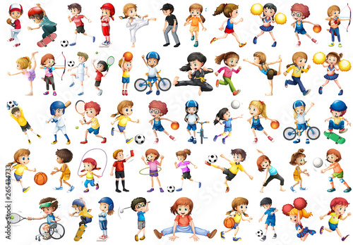 Photo sur Aluminium Jeunes enfants Set of sport kids character