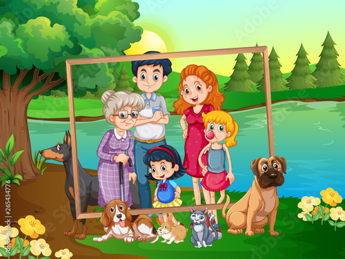 Canvas Prints Kids Family on wooden frame