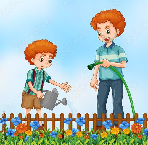 In de dag Kids Father nad son watering the garden