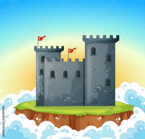 In de dag Kids stone castle on island