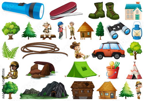 Canvas Prints Kids Set of camping element