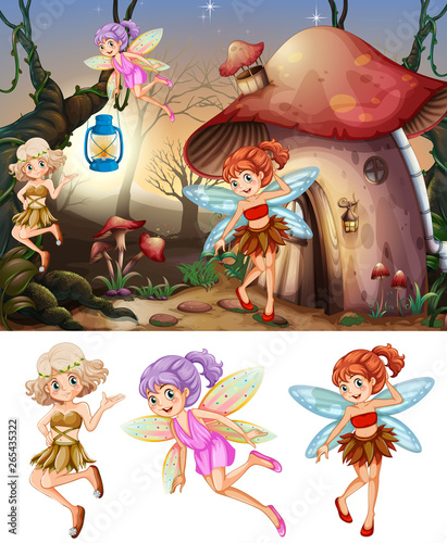 set of fairies in wood scene