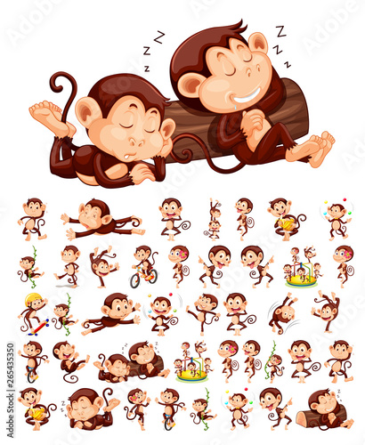 Photo sur Aluminium Jeunes enfants Set of monkey character