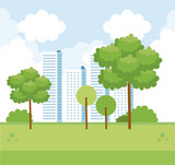 cityscape with building and trees with nature bushes