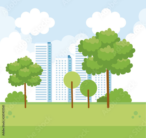 Fototapety, obrazy: cityscape with building and trees with nature bushes