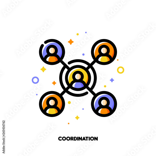 Vászonkép Team coordination icon for concept of participation in a group