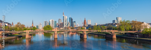 Frankfurt city with sunrise and skyline