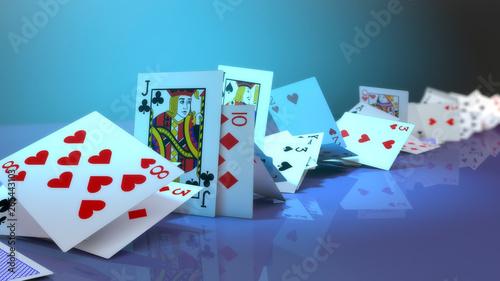 Fotomural 3d rendering poker cards falling