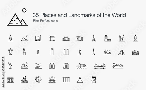 Obraz na plátně 35 Places and Landmarks of the World Pixel Perfect Icons (Line Style)
