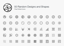 50 Random Designs And Shapes Pixel Perfect Icons (Line Style). Vector Icon Set Of Random Round Circle Pattern,  Abstract Lines, And Shapes.