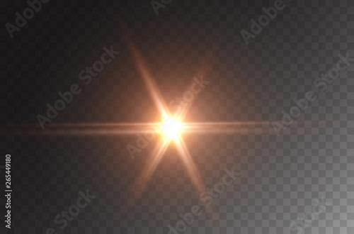 Obraz Star burst effect. Realistic yellow flare beam, spotlight isolated on transparent background. Vector bright spot light, glowing projector, car headlight or golden flash star. - fototapety do salonu