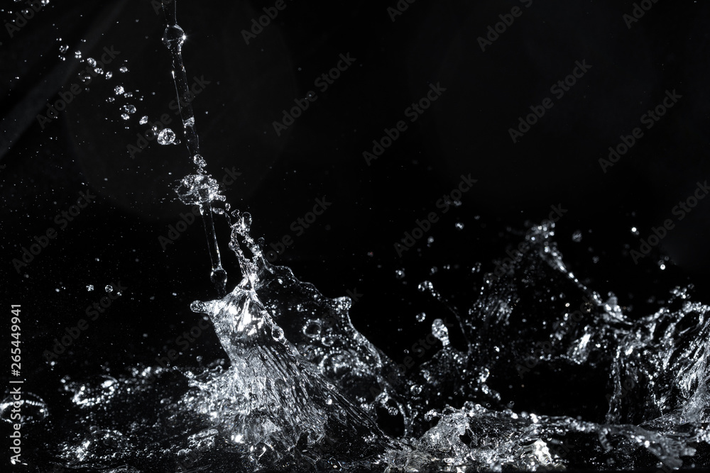 Fototapeta water splash black background backdrop fresh feeling