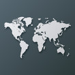 Abstract 3d world map. White silhouette on grey background.