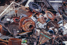 Heap Of Metal Items On A Scrap Yard In Warsaw, Capital City Of Poland