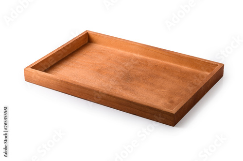 Wooden tray on a white background Canvas Print