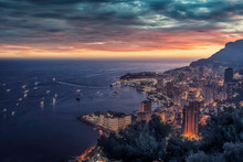 Monaco At Sunset On The French...