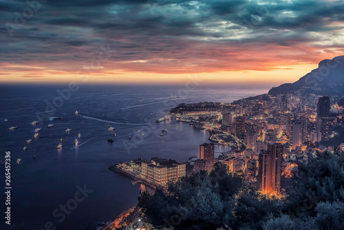 Poster Cote Monaco at sunset on the French Riviera
