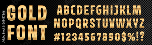 Fototapeta Gold font numbers and letters alphabet typography. Vector golden font type with 3d gold effect obraz