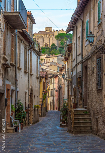 Fototapety, obrazy: Montenero Sabino (Rieti, Italy) - A very small and charming medieval village in stone with castle, on the Rieti hills, Sabina area, Lazio region, central Italy
