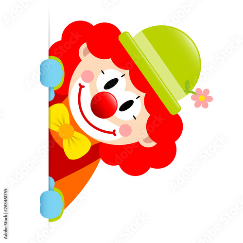 Tablou Canvas Clown Rote Haare Banner Vertikal