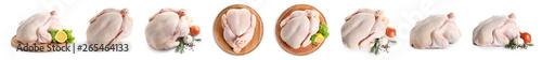 Fototapeta Set of raw turkey on white background obraz