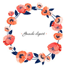 Gouache Floral Wreath With Coral Anemones And Leaves. Hand-drawn Clipart For Art Work And Weddind Design.