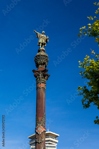 Photo  The Monument of Christopher Columbus in Barcelona, Spain in Europe