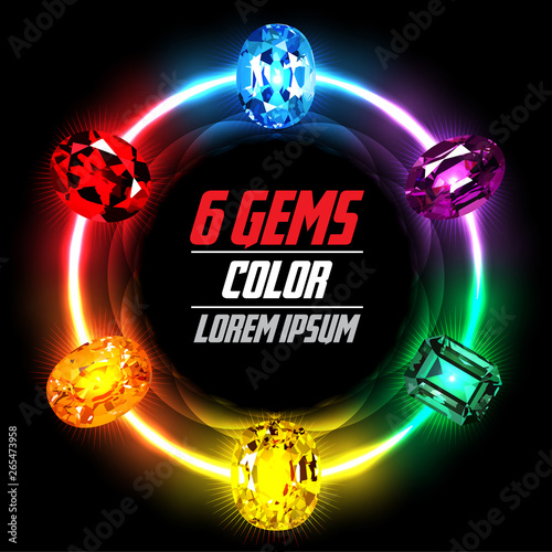 6 Gems on Abstract Circle Color background. Vector illustration Wallpaper Mural