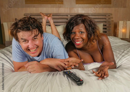 Fotografija  young happy and attractive mixed ethnicity couple with beautiful black afro Amer