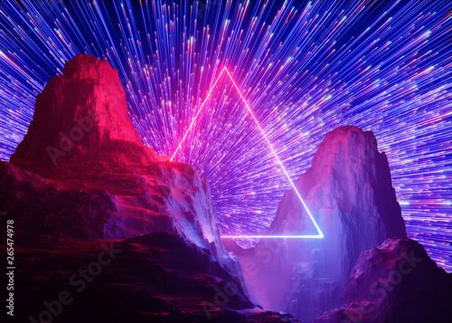 3d render, abstract futuristic neon background, pink blue fireworks, cosmic landscape, glowing triangular frame, ultraviolet light, virtual reality space, energy source, mountains, rocks, ground - 265474978