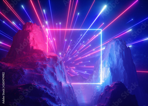 3d render, abstract futuristic neon background, pink blue fireworks, cosmic landscape, glowing square frame, ultraviolet light, virtual reality space, energy source, mountains, rocks - 265474982