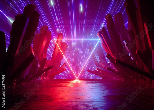 3d Render Abstract Futuristic Neon Background Pink Red