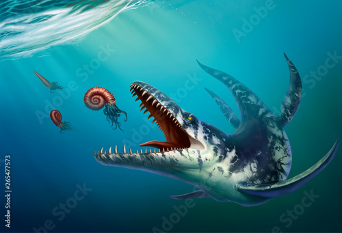 Kronosaurus was a marine reptile that lived in the ocean during the early Cretaceous period when dinosaurs Canvas Print