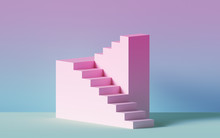 3d Render, Pink Stairs, Steps,...