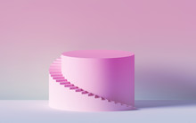 3d Render, Pink Spiral Stairs, Steps, Cylinder, Abstract Background In Pastel Colors, Minimal Scene