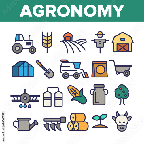 Agronomy Industry Vector Thin Line Icons Set Wallpaper Mural