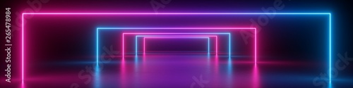 Aluminium Prints Violet 3d render, abstract panoramic background, neon light, glowing lines, geometric shapes, ultraviolet spectrum, virtual reality, laser show