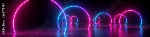 3d render, abstract panoramic background, neon light, glowing lines, round geometric shapes, ultraviolet spectrum, virtual reality, laser show - 265478985